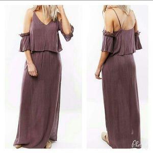 NWT Tiered Cold Shoulder Maxi Dress Purple Mauve